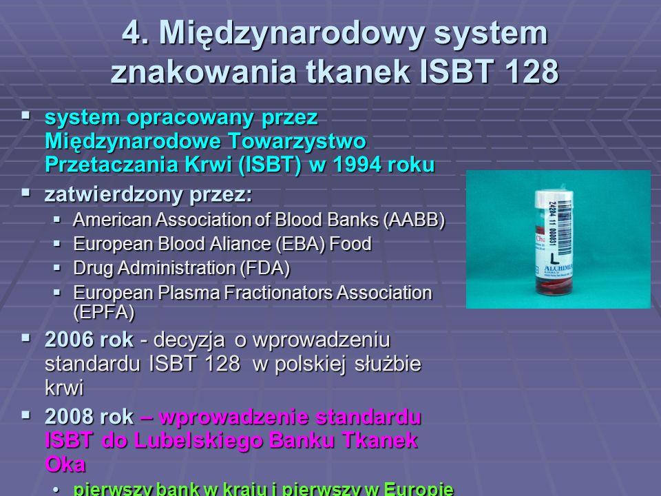 4. Międzynarodowy system znakowania tkanek ISBT 128