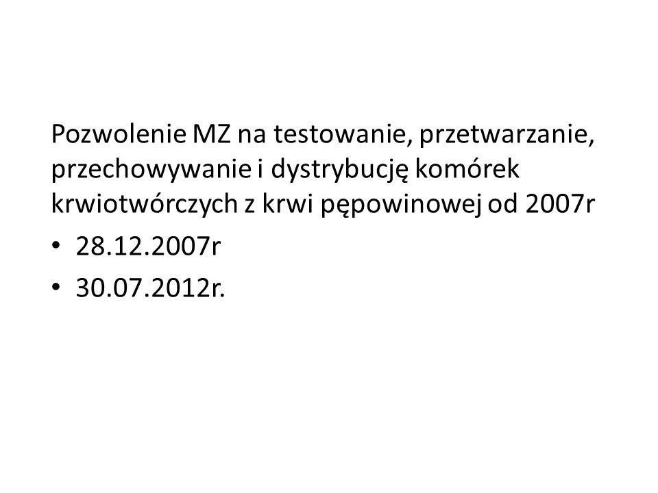 Pozwolenie MZ na testowanie, przetwarzanie, przechowywanie i dystrybucję komórek krwiotwórczych z krwi pępowinowej od 2007r