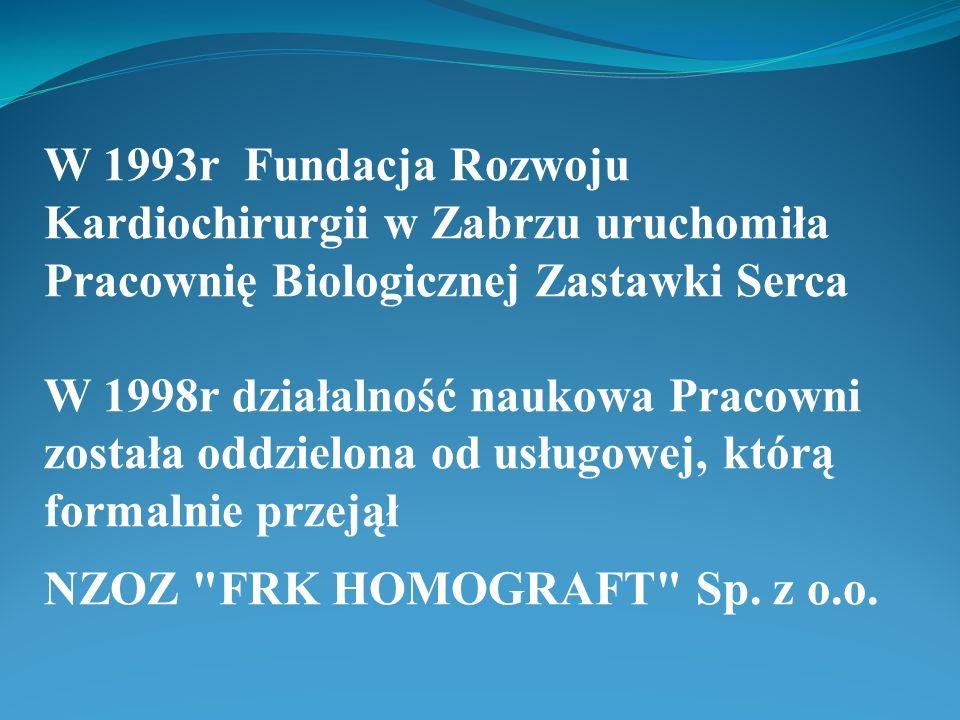 W 1993r Fundacja Rozwoju Kardiochirurgii w Zabrzu uruchomiła Pracownię Biologicznej Zastawki Serca W 1998r działalność naukowa Pracowni została oddzielona od usługowej, którą formalnie przejął