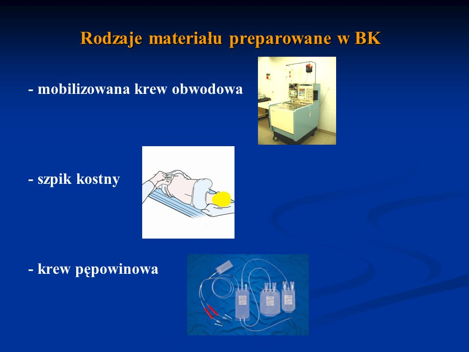 Rodzaje materiału preparowane w BK