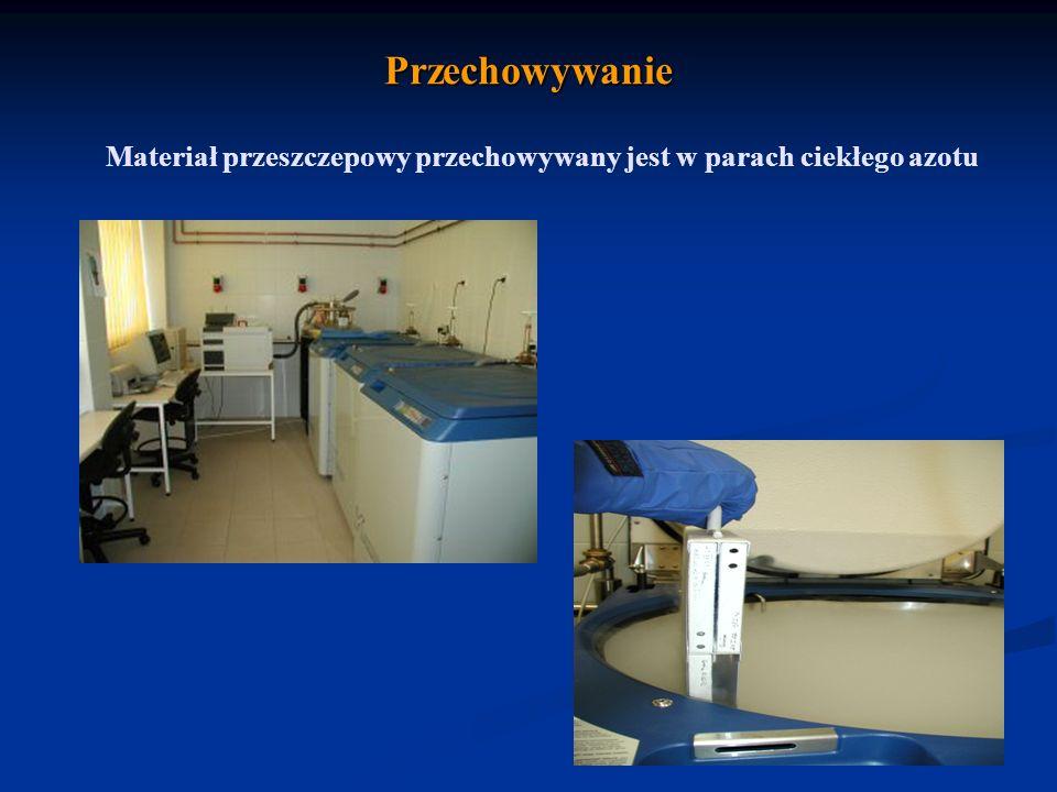 Przechowywanie Materiał przeszczepowy przechowywany jest w parach ciekłego azotu