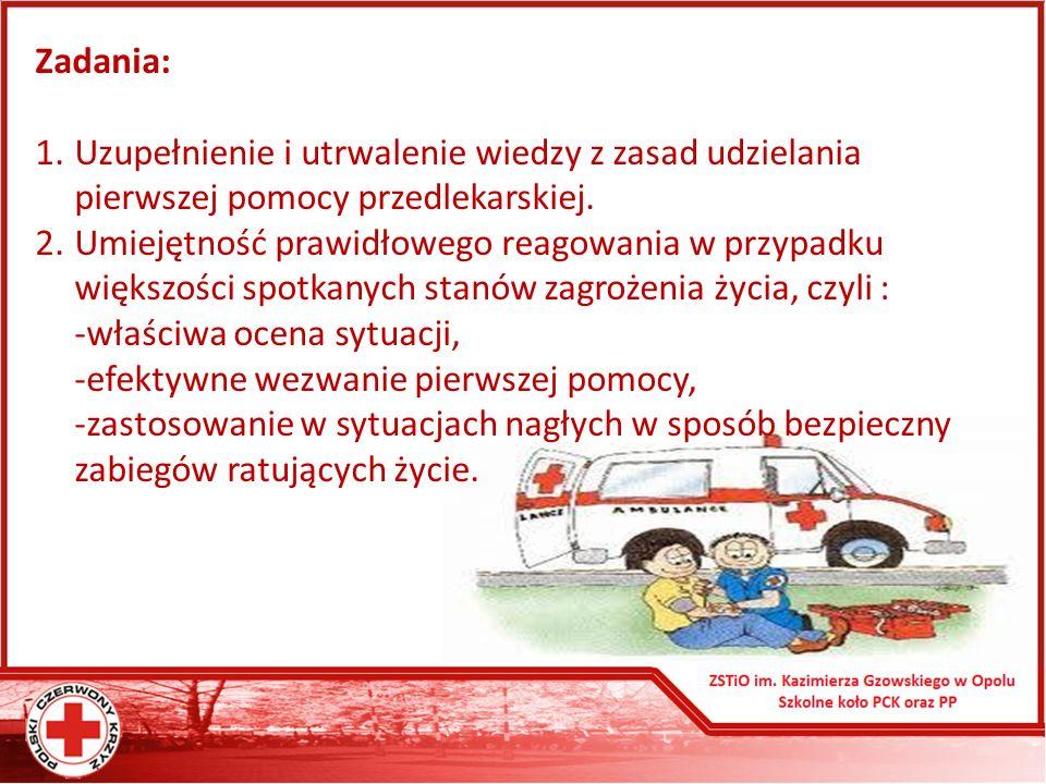 Zadania: Uzupełnienie i utrwalenie wiedzy z zasad udzielania pierwszej pomocy przedlekarskiej.