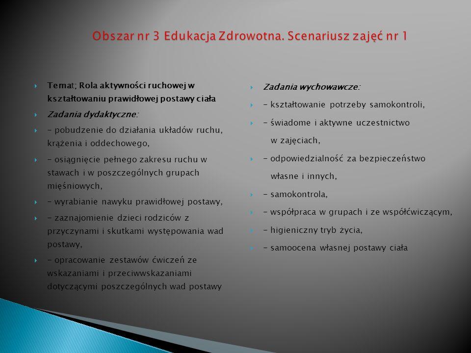 Obszar nr 3 Edukacja Zdrowotna. Scenariusz zajęć nr 1
