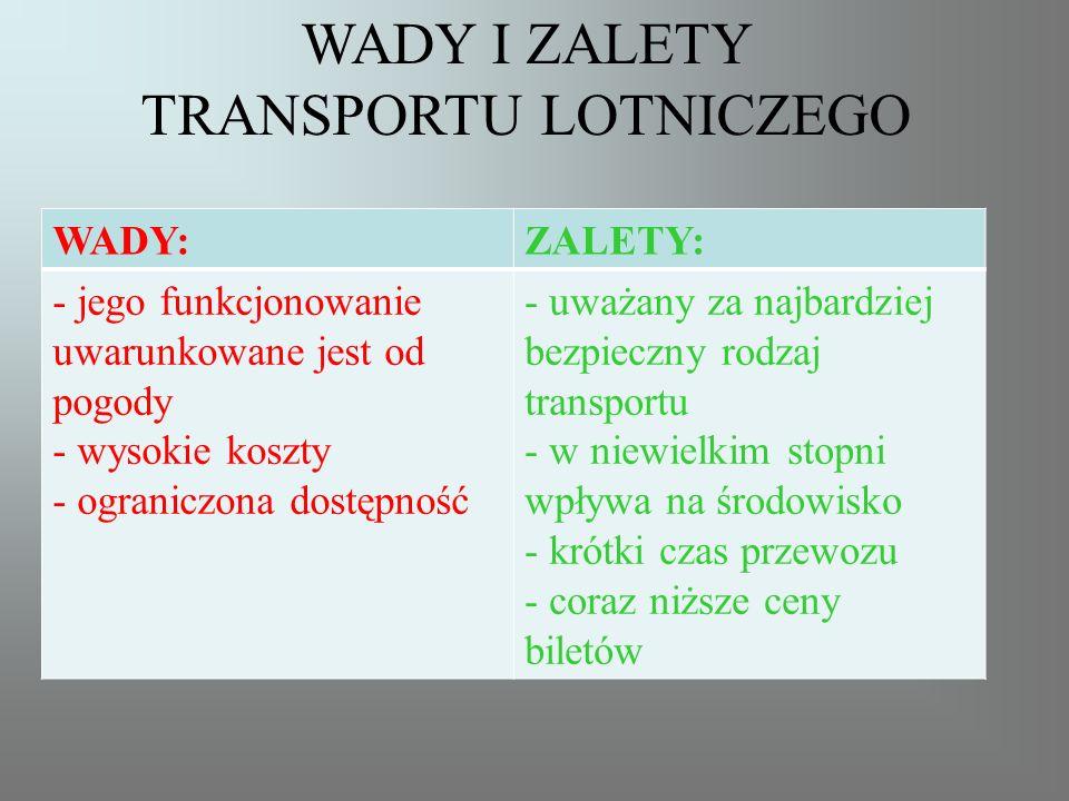 WADY I ZALETY TRANSPORTU LOTNICZEGO