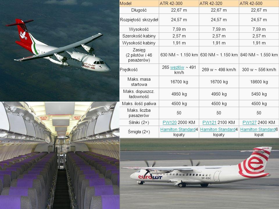 Zasięg (2 pilotów i 46 pasażerów) 630 NM ~ 1.150 km 840 NM ~ 1.550 km