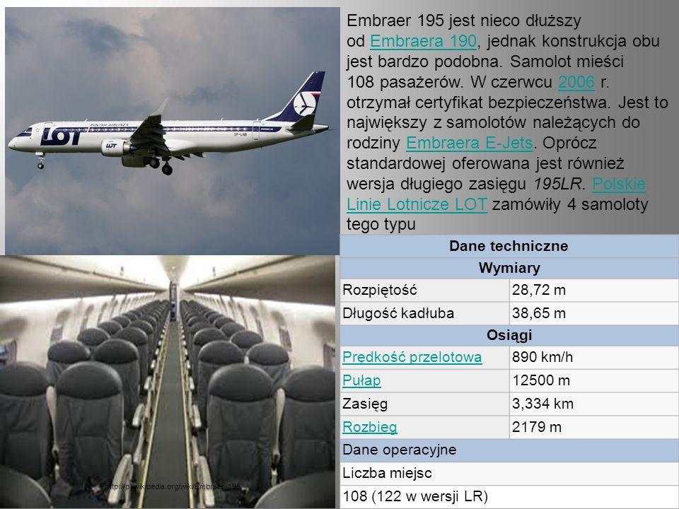 Embraer 195 jest nieco dłuższy od Embraera 190, jednak konstrukcja obu jest bardzo podobna. Samolot mieści 108 pasażerów. W czerwcu 2006 r. otrzymał certyfikat bezpieczeństwa. Jest to największy z samolotów należących do rodziny Embraera E-Jets. Oprócz standardowej oferowana jest również wersja długiego zasięgu 195LR. Polskie Linie Lotnicze LOT zamówiły 4 samoloty tego typu