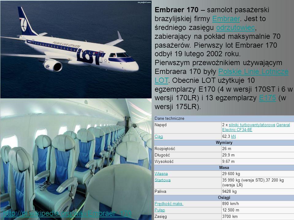 Embraer 170 – samolot pasażerski brazylijskiej firmy Embraer