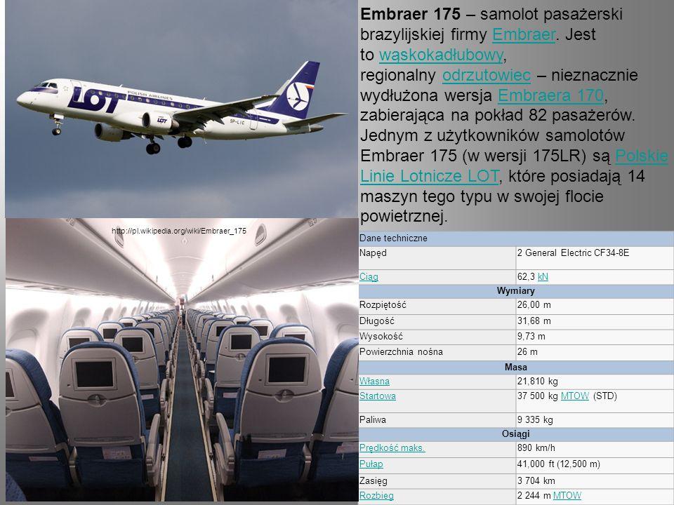 Embraer 175 – samolot pasażerski brazylijskiej firmy Embraer