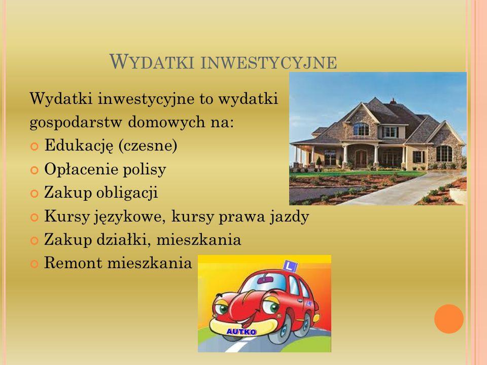 Wydatki inwestycyjne Wydatki inwestycyjne to wydatki