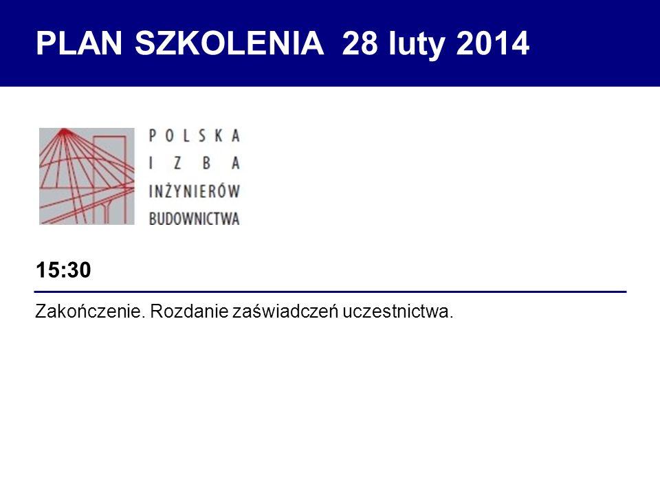 PLAN SZKOLENIA 28 luty 2014 15:30 Zakończenie. Rozdanie zaświadczeń uczestnictwa.