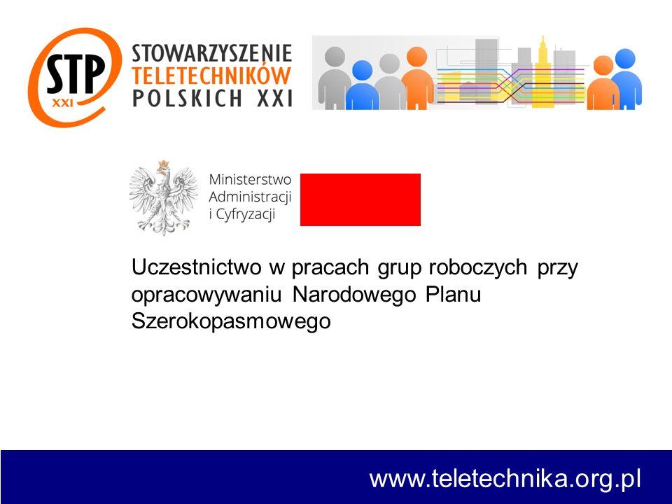 Uczestnictwo w pracach grup roboczych przy opracowywaniu Narodowego Planu Szerokopasmowego