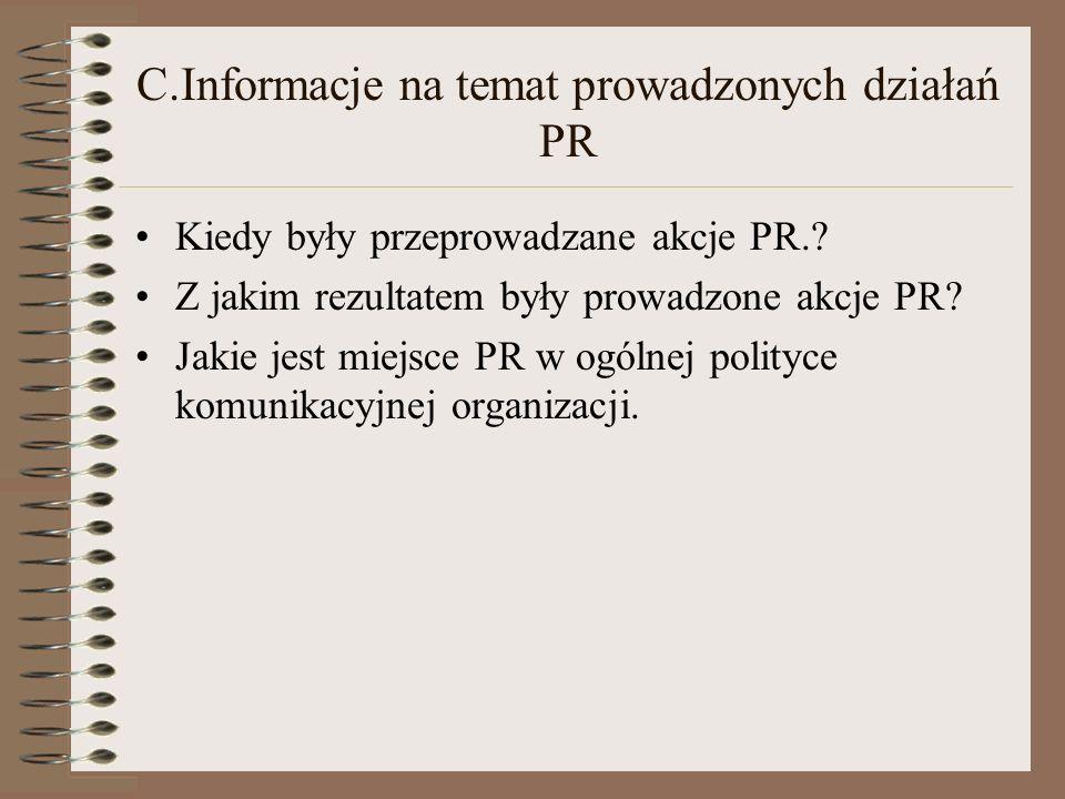 C.Informacje na temat prowadzonych działań PR