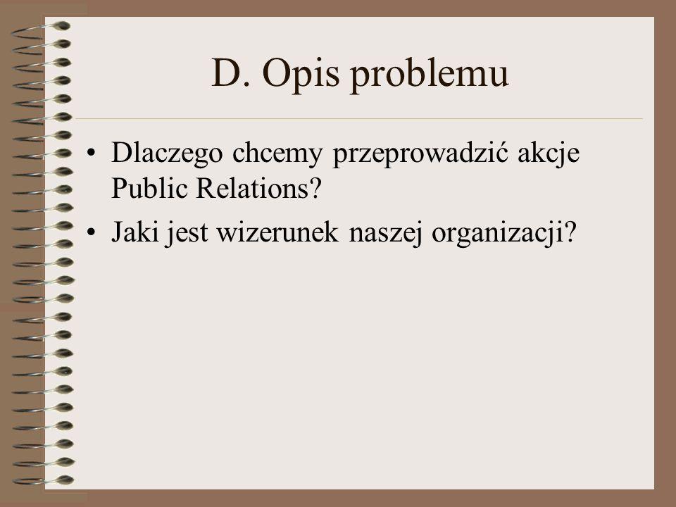 D. Opis problemu Dlaczego chcemy przeprowadzić akcje Public Relations