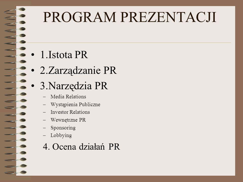PROGRAM PREZENTACJI 1.Istota PR 2.Zarządzanie PR 3.Narzędzia PR