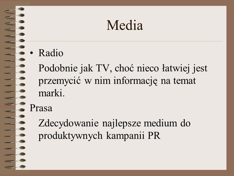 Media Radio. Podobnie jak TV, choć nieco łatwiej jest przemycić w nim informację na temat marki. Prasa.