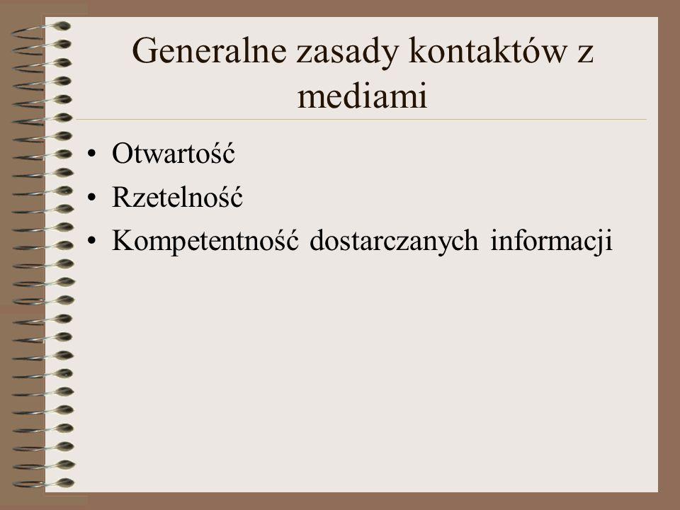 Generalne zasady kontaktów z mediami