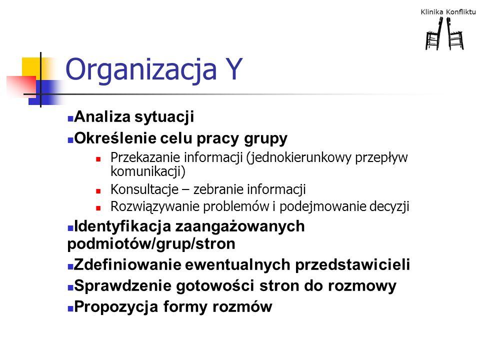 Organizacja Y Analiza sytuacji Określenie celu pracy grupy