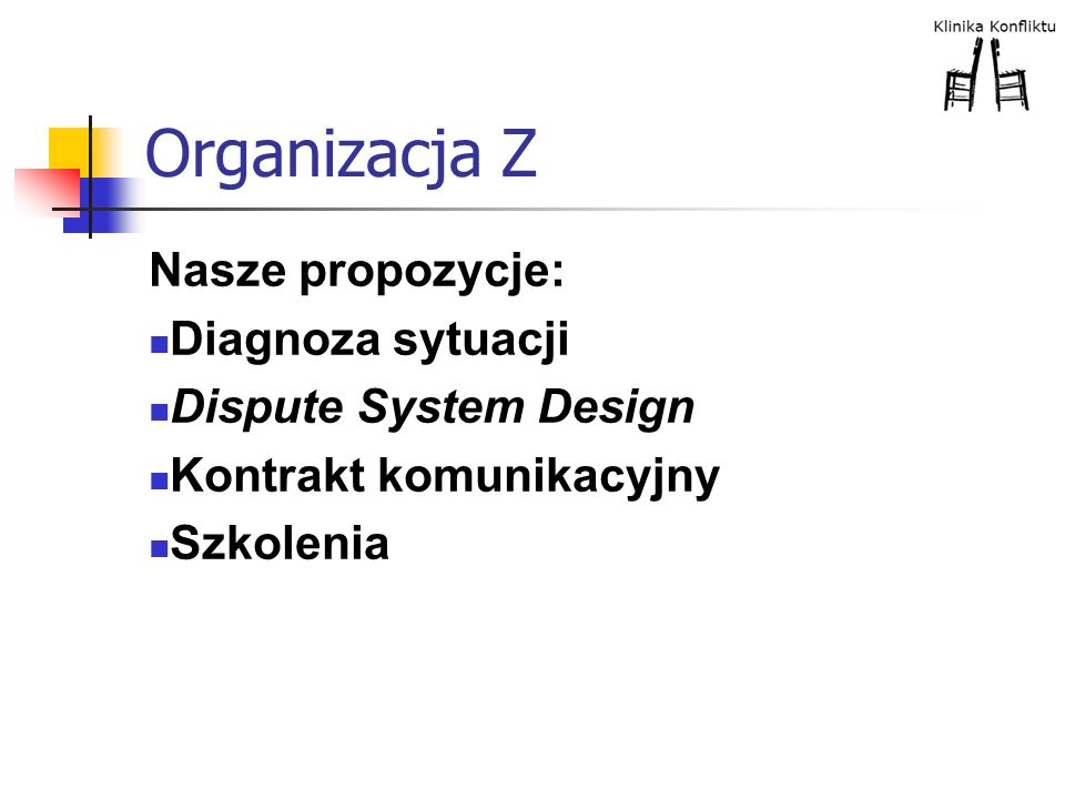 Organizacja Z Nasze propozycje: Diagnoza sytuacji