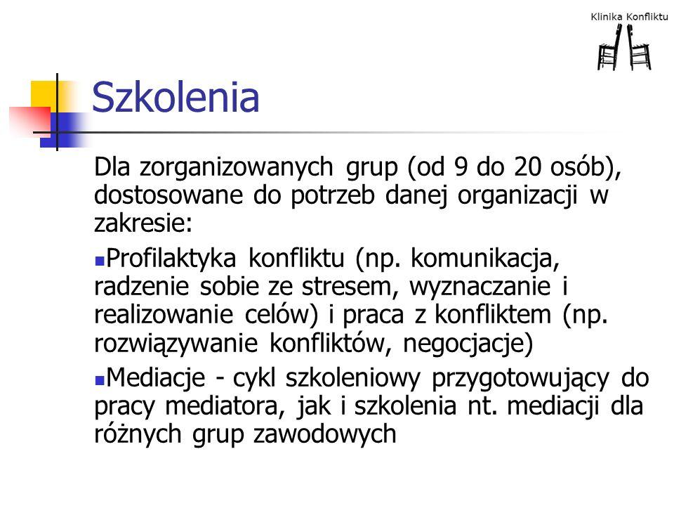 Szkolenia Dla zorganizowanych grup (od 9 do 20 osób), dostosowane do potrzeb danej organizacji w zakresie: