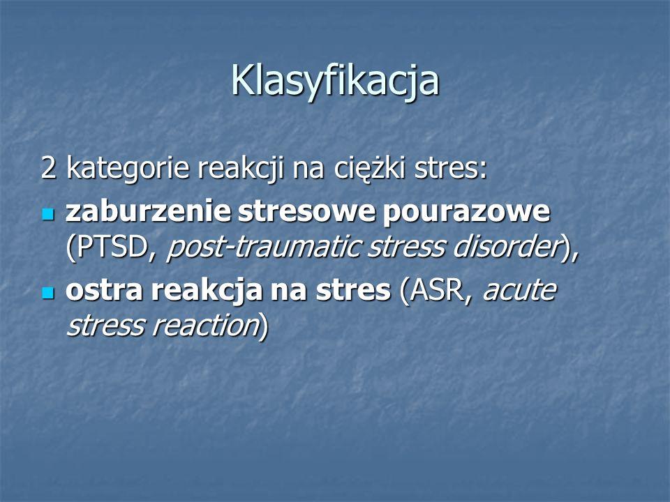 Klasyfikacja 2 kategorie reakcji na ciężki stres: