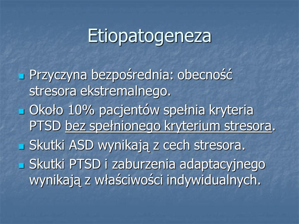 Etiopatogeneza Przyczyna bezpośrednia: obecność stresora ekstremalnego.