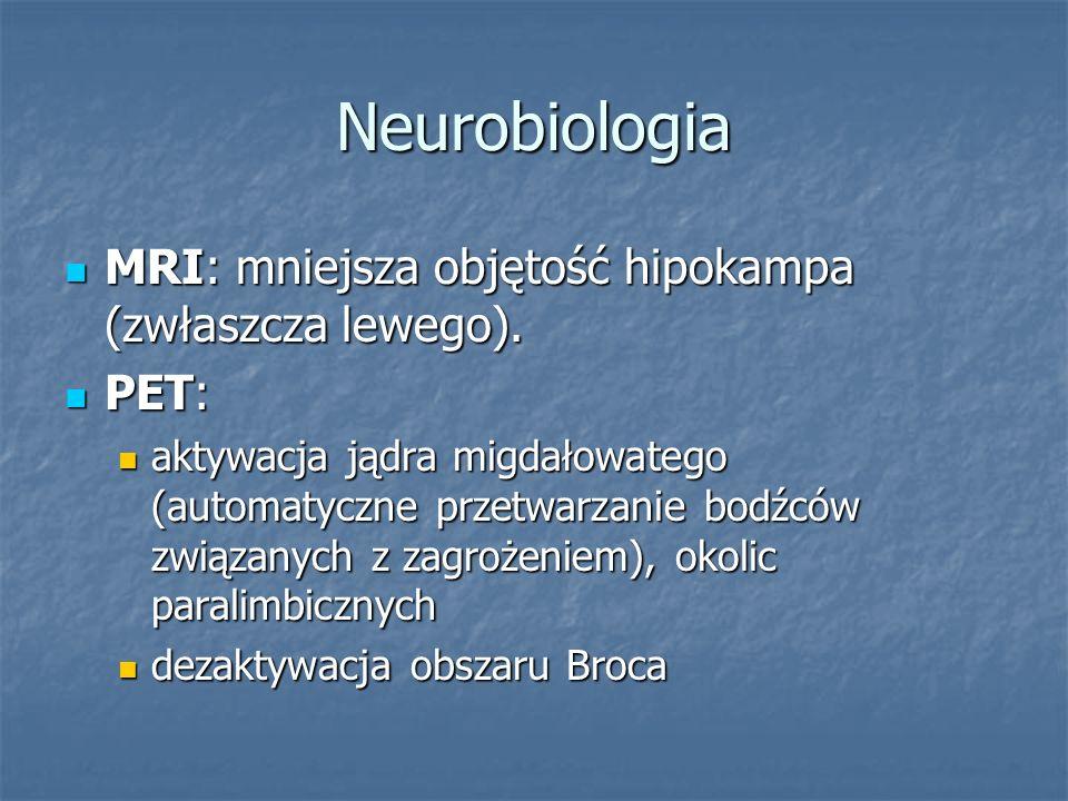 Neurobiologia MRI: mniejsza objętość hipokampa (zwłaszcza lewego).