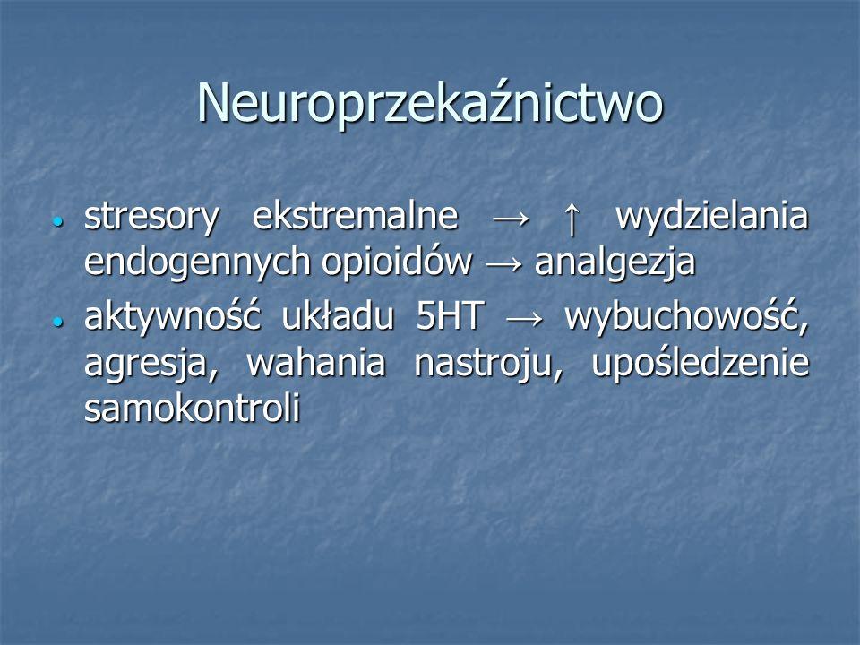 Neuroprzekaźnictwo stresory ekstremalne → ↑ wydzielania endogennych opioidów → analgezja.