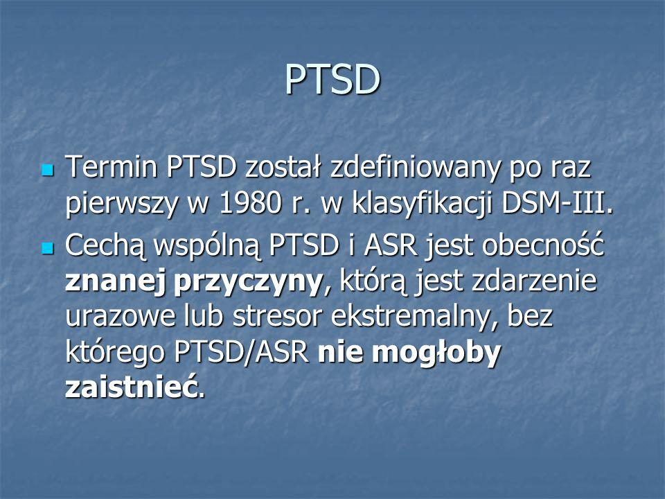 PTSD Termin PTSD został zdefiniowany po raz pierwszy w 1980 r. w klasyfikacji DSM-III.