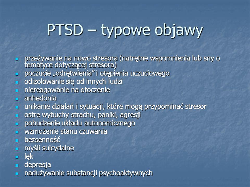 PTSD – typowe objawy przeżywanie na nowo stresora (natrętne wspomnienia lub sny o tematyce dotyczącej stresora)