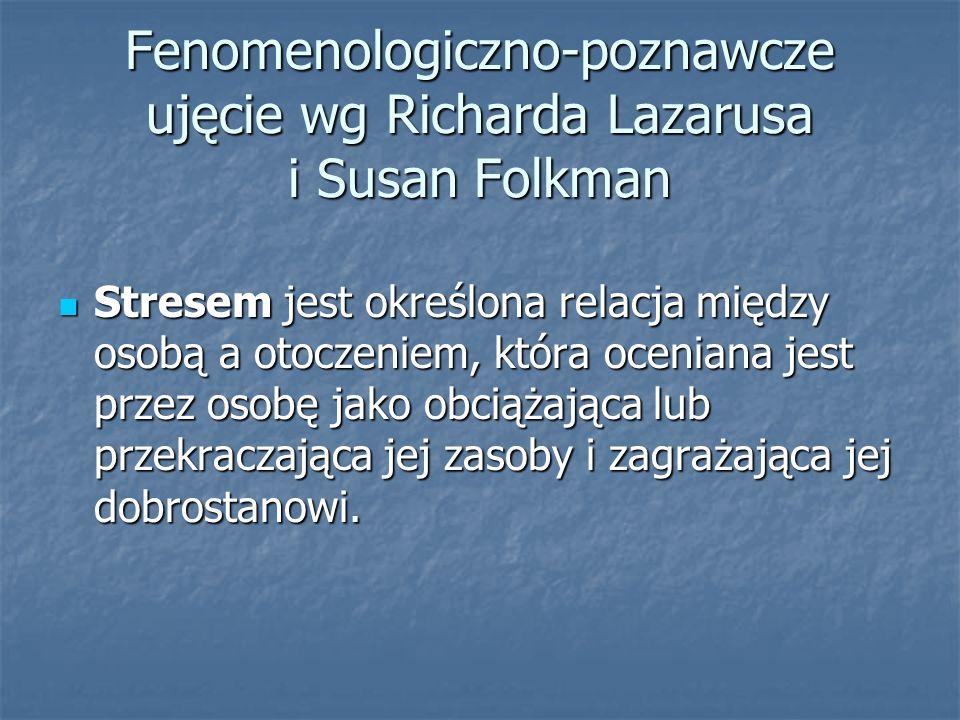 Fenomenologiczno-poznawcze ujęcie wg Richarda Lazarusa i Susan Folkman