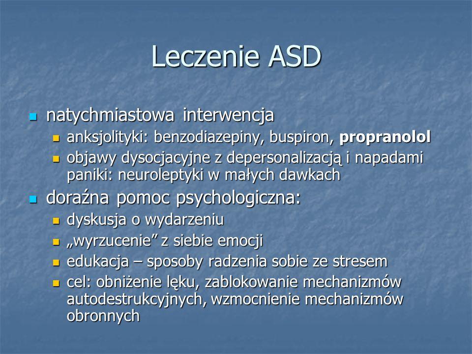 Leczenie ASD natychmiastowa interwencja doraźna pomoc psychologiczna:
