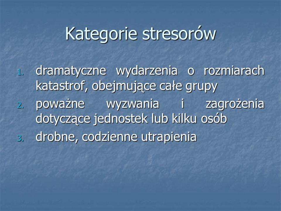 Kategorie stresorów dramatyczne wydarzenia o rozmiarach katastrof, obejmujące całe grupy.