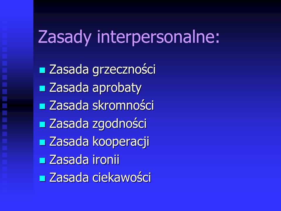 Zasady interpersonalne: