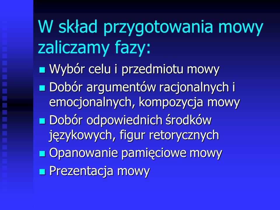 W skład przygotowania mowy zaliczamy fazy: