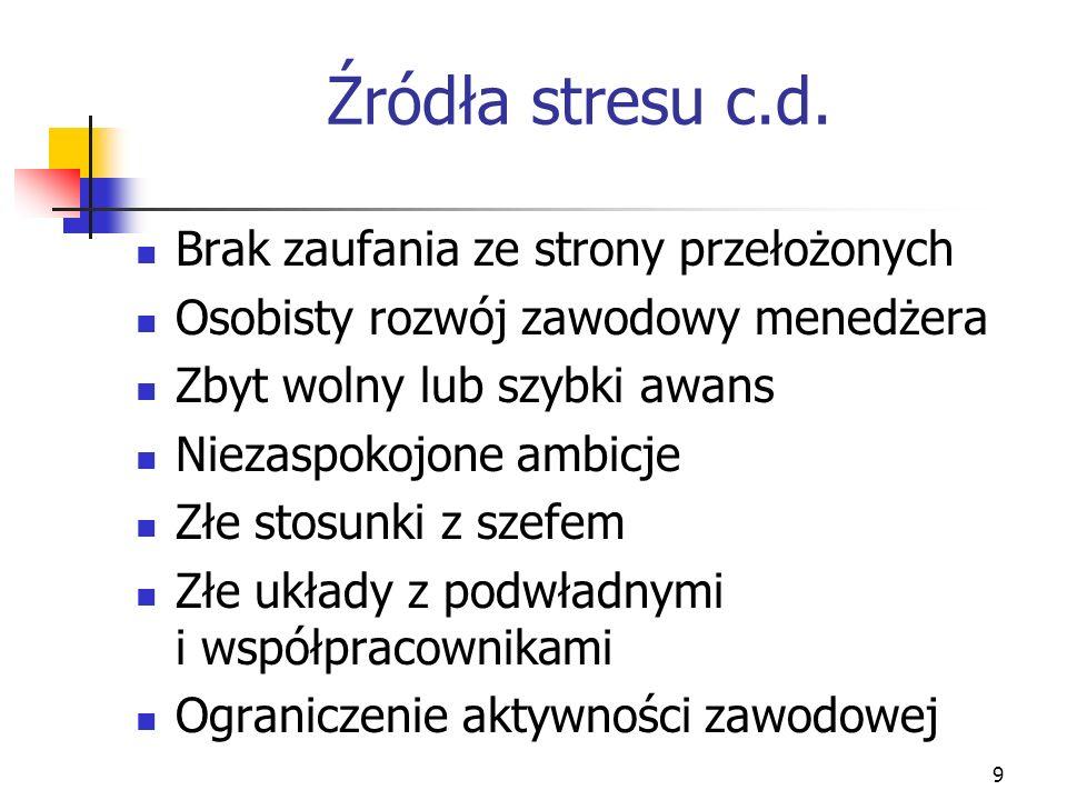 Źródła stresu c.d. Brak zaufania ze strony przełożonych