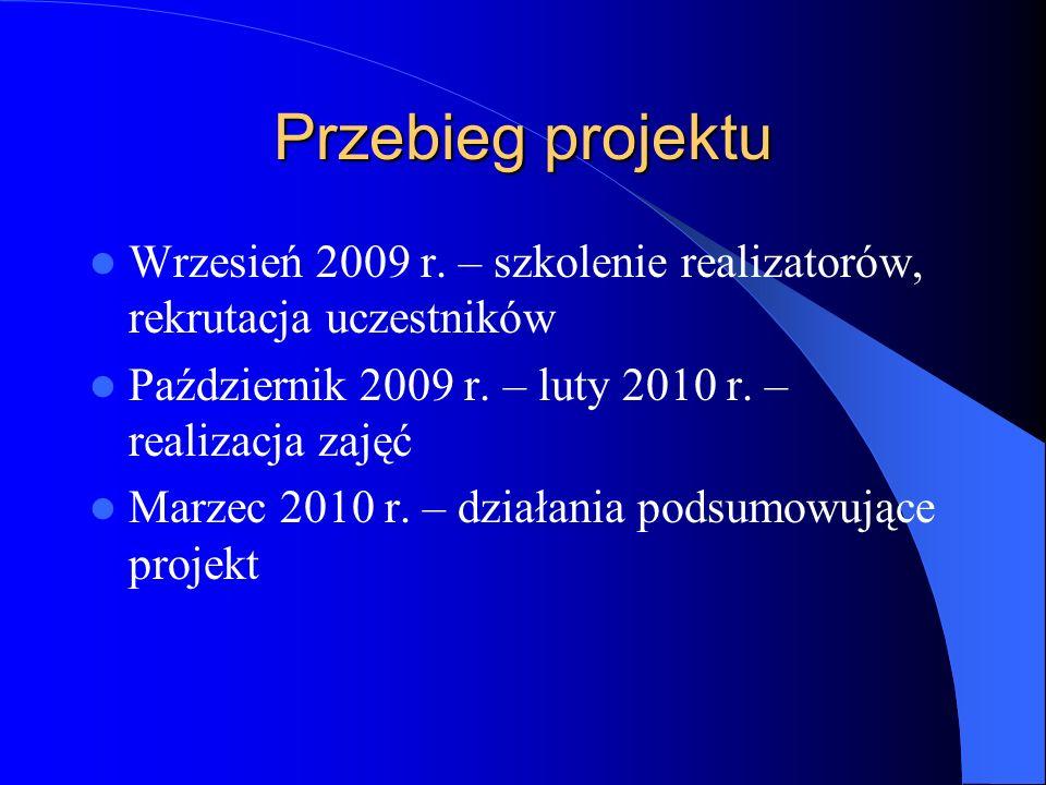 Przebieg projektu Wrzesień 2009 r. – szkolenie realizatorów, rekrutacja uczestników. Październik 2009 r. – luty 2010 r. – realizacja zajęć.