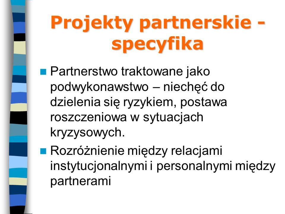 Projekty partnerskie - specyfika