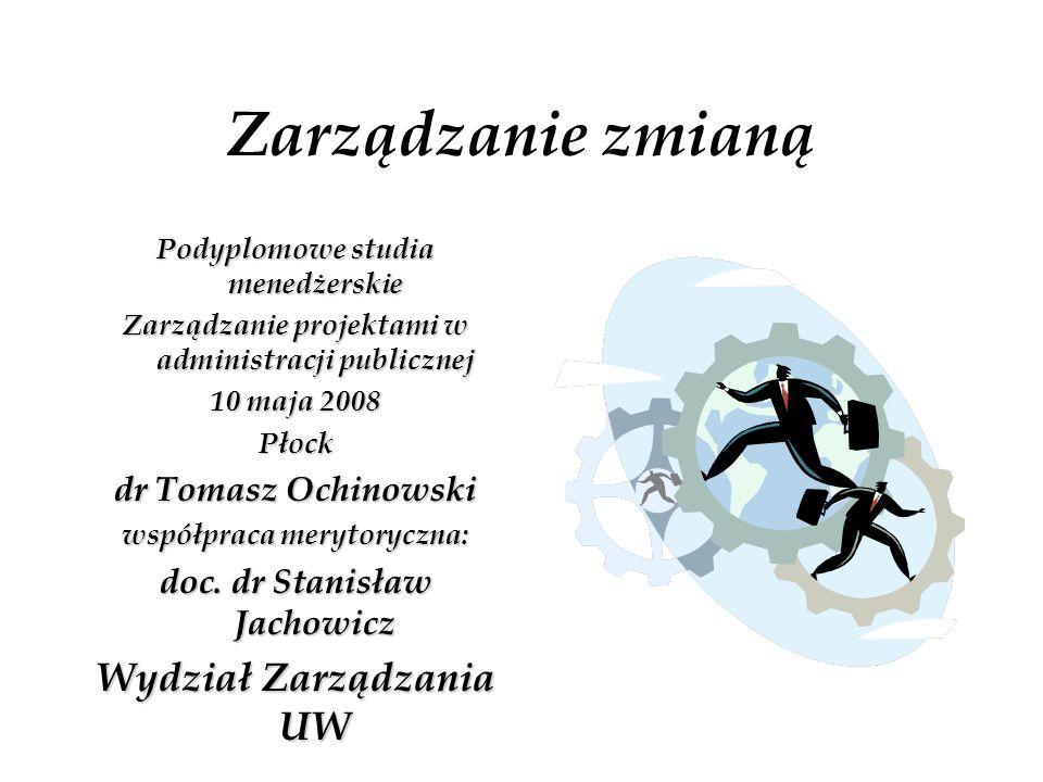 Zarządzanie zmianą Wydział Zarządzania UW dr Tomasz Ochinowski