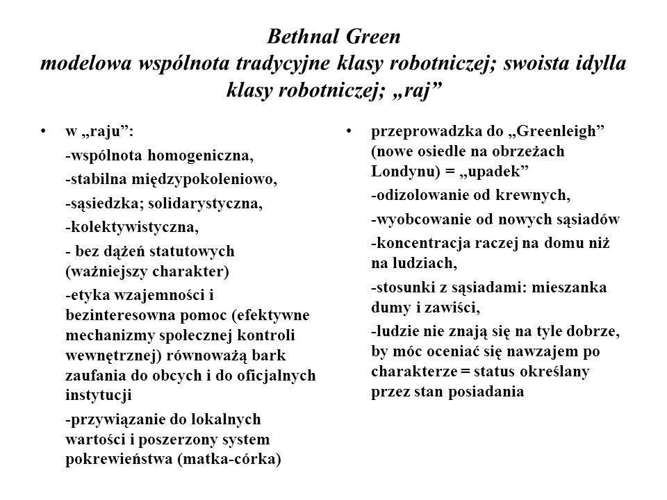 """Bethnal Green modelowa wspólnota tradycyjne klasy robotniczej; swoista idylla klasy robotniczej; """"raj"""