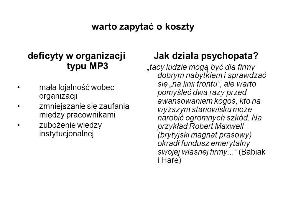 deficyty w organizacji typu MP3