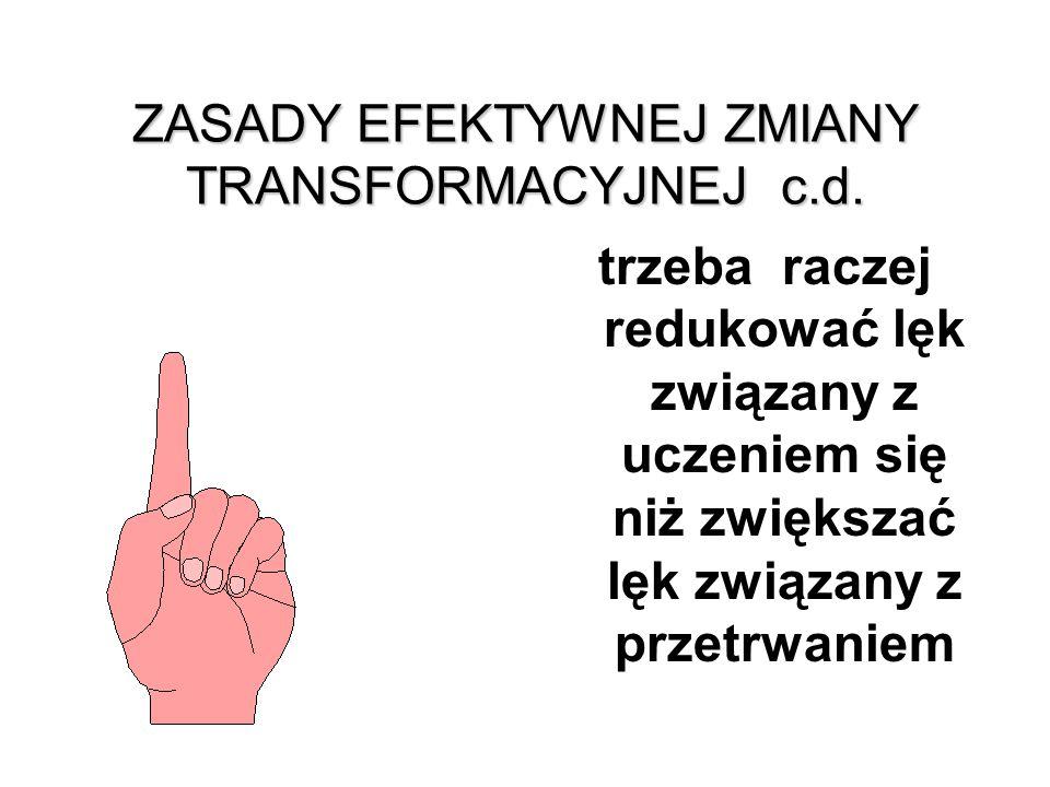 ZASADY EFEKTYWNEJ ZMIANY TRANSFORMACYJNEJ c.d.
