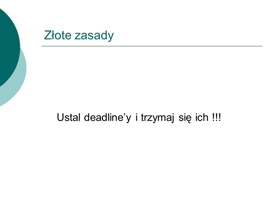 Ustal deadline'y i trzymaj się ich !!!