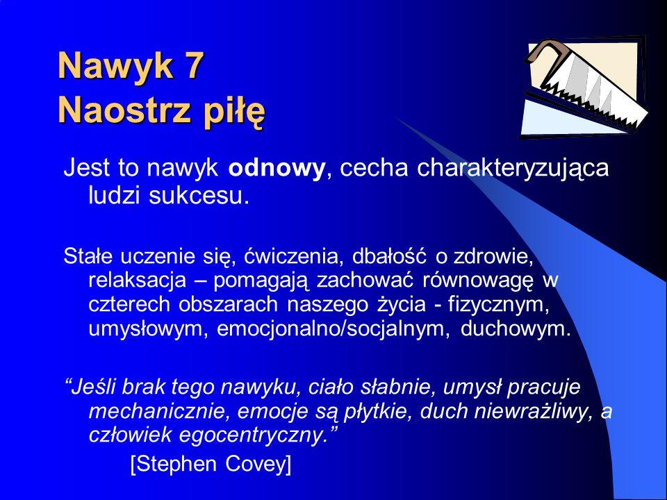 Nawyk 7 Naostrz piłę Jest to nawyk odnowy, cecha charakteryzująca ludzi sukcesu.