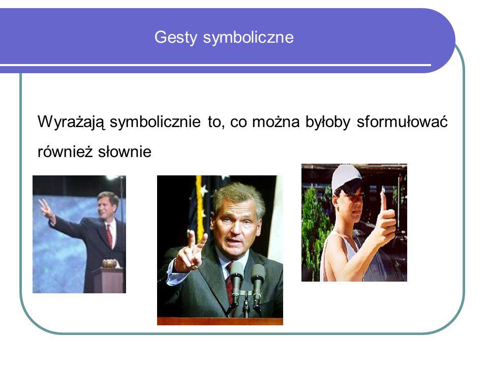 Gesty symboliczne Wyrażają symbolicznie to, co można byłoby sformułować również słownie