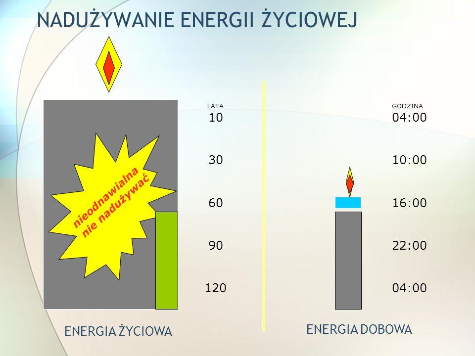 NADUŻYWANIE ENERGII ŻYCIOWEJ