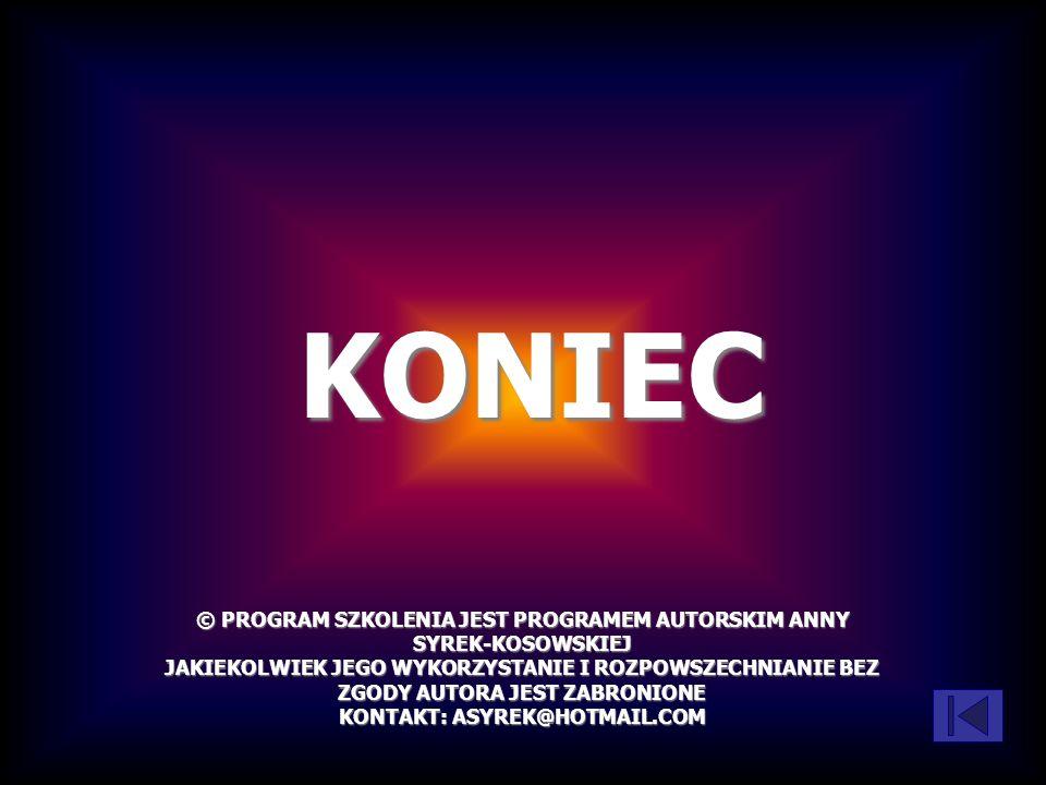 KONIEC © PROGRAM SZKOLENIA JEST PROGRAMEM AUTORSKIM ANNY SYREK-KOSOWSKIEJ.