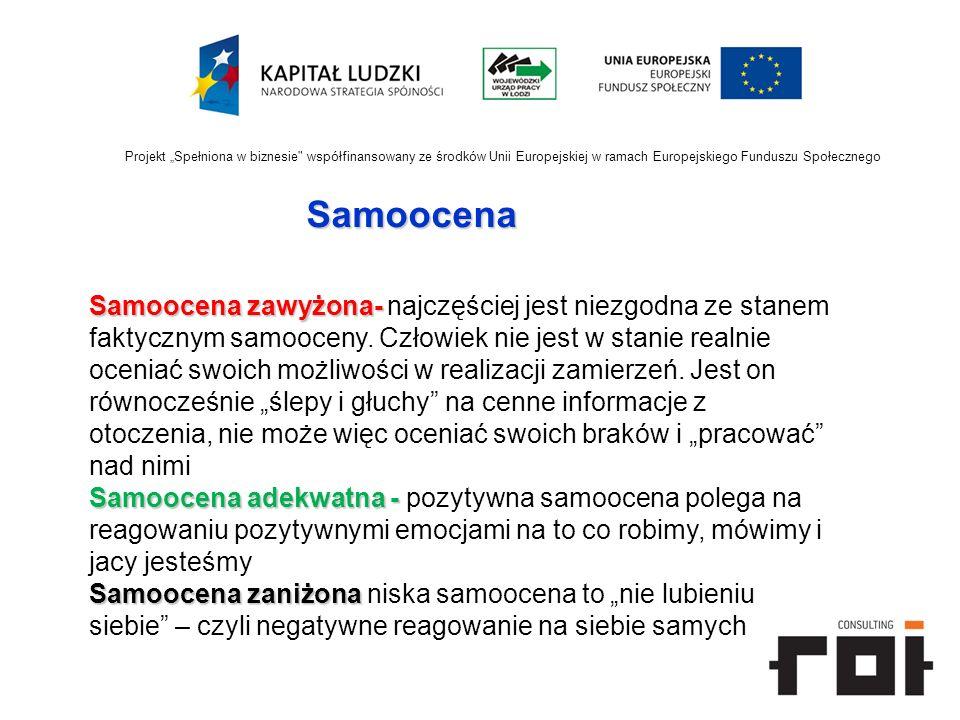 """Projekt """"Spełniona w biznesie współfinansowany ze środków Unii Europejskiej w ramach Europejskiego Funduszu Społecznego"""