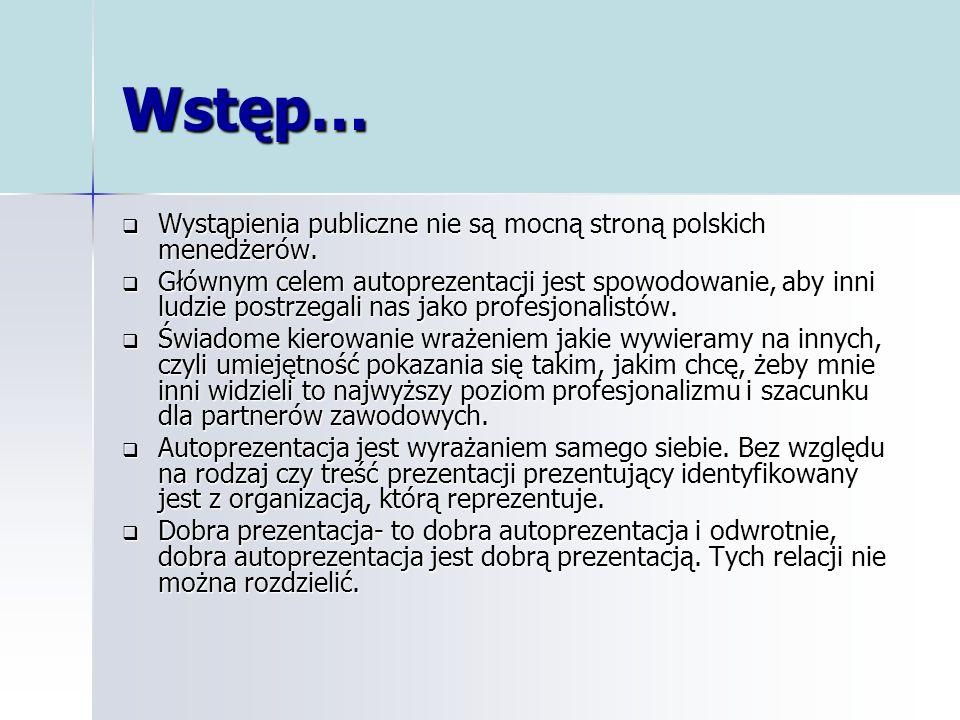 Wstęp… Wystąpienia publiczne nie są mocną stroną polskich menedżerów.