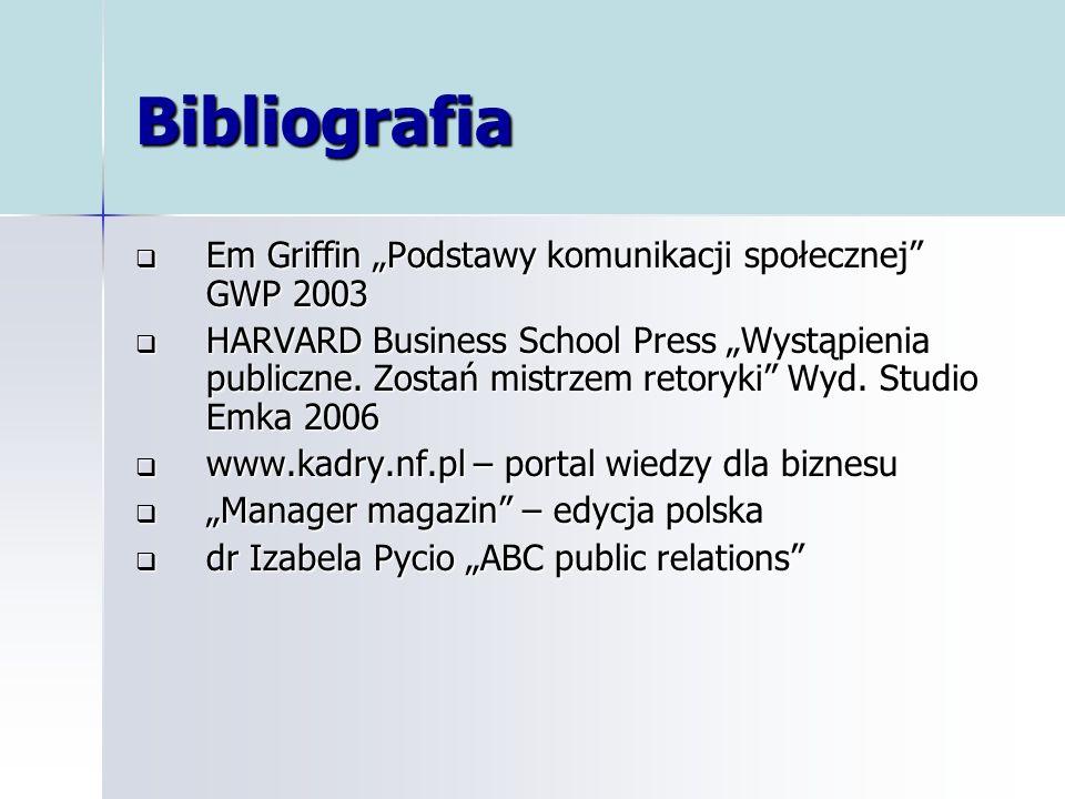 """Bibliografia Em Griffin """"Podstawy komunikacji społecznej GWP 2003"""