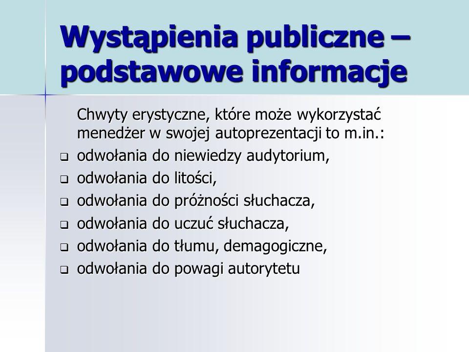 Wystąpienia publiczne – podstawowe informacje